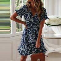 V Neck Wrapped Short Sleeves Floral Print Mini Dress - Blue