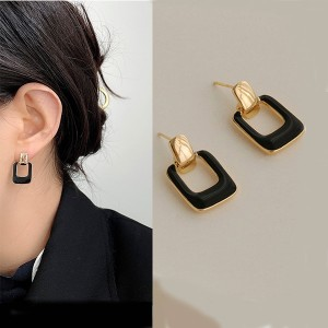 Personality Temperament Simple Earrings - Black