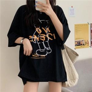 Loose Wear Printed Summer Fashion T-Shirt - Black
