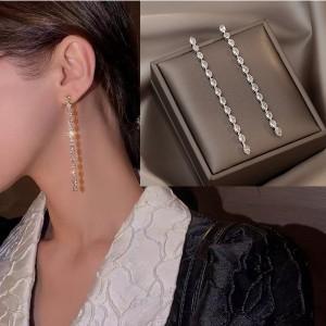 Long Tassel Light Luxury Temperament Earrings - Silver