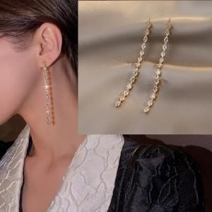 Long Tassel Light Luxury Temperament Earrings - Golden