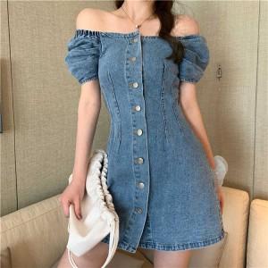 Button Closure Off Shoulder Denim Bodycon Mini Dress - Blue