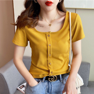Button Closure Ribbed Short Sleeves Body Fitted Top - Yellow