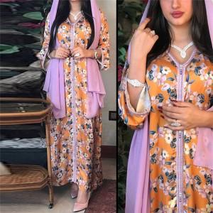 Floral Printed V Neck Decorative Maxi Dress - Orange