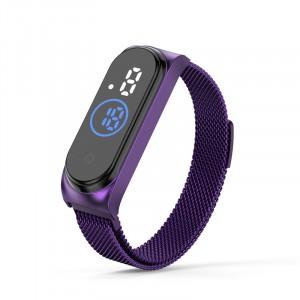 Waterproof Steel Band Magnetic Strap Touch LED Women Digital Watch - Purple