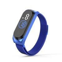 Waterproof Steel Band Magnetic Strap Touch LED Women Digital Watch - Blue