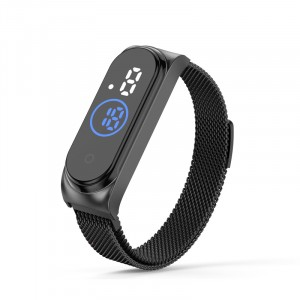Waterproof Steel Band Magnetic Strap Touch LED Women Digital Watch - Black