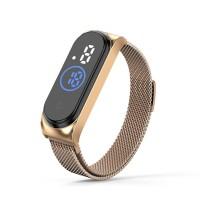 Waterproof Steel Band Magnetic Strap Touch LED Women Digital Watch - Gold