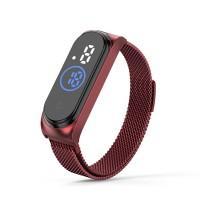 Waterproof Steel Band Magnetic Strap Touch LED Women Digital Watch - Burgundy