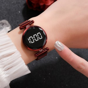 Luxury Quartz Steel Band Magnetic Strap LED Women Digital Watch - Wine Red
