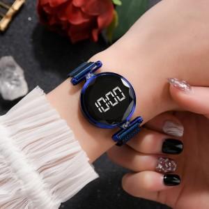 Luxury Quartz Steel Band Magnetic Strap LED Women Digital Watch - Blue