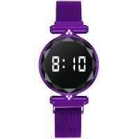 Luxury Quartz Steel Band Magnetic Strap LED Women Digital Watch - Purple