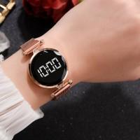 Luxury Quartz Steel Band Magnetic Strap LED Women Digital Watch - Rose Gold