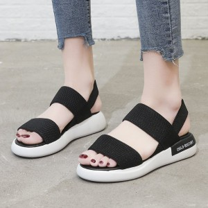 Slip Over Canvas Casual Wear Sandals - Black