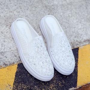 Pearl Decorative Flat Wear Women Fashion Shoes - White
