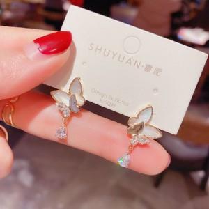 Fashion Shell Zircon Butterfly Earrings - White