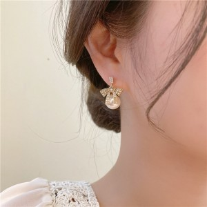 Asymmetric Pearl Diamond Bow Earrings - Golden