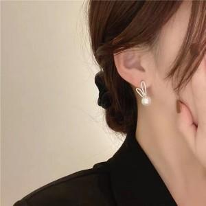 Pearl Cute Rabbit Earrings - White
