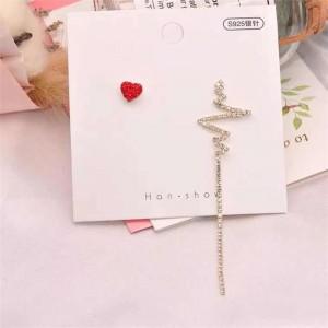 Asymmetric Love Heart Long Earrings - Golden