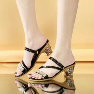 Decorative Square Heel Party Wear Sandals - Black