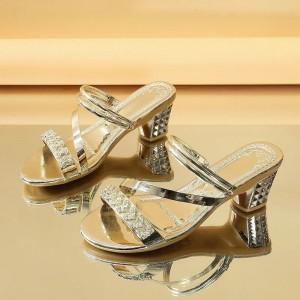 Decorative Square Heel Party Wear Sandals - Golden