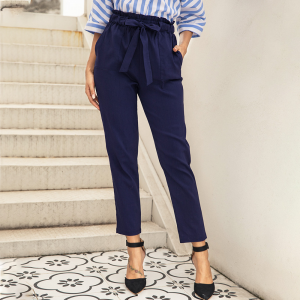 Narrow Bottom Waist Strap Solid Color Trouser Pants