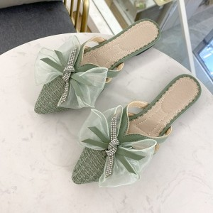 Ribbon Patched Crystal Decorative Pointed Slippers - Green