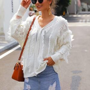 Thread Art Tassel Vintage Style Blouse Top - White