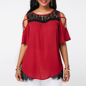 Cold Shoulder Lace Texture Contrast Summer Blouse Top - Wine  Red