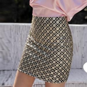 Digital Print Fitted Mini Length Skirt - Multicolor