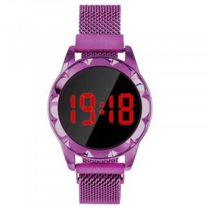 Waterproof Steel Band Magnetic Strap Round Touch LED Women Digital Watch - Purple