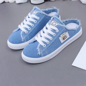 Thread Shredded Lace Closure Flat Wear Mule Sneakers - Blue