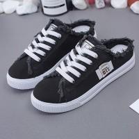 Thread Shredded Lace Closure Flat Wear Mule Sneakers - Dark Blue