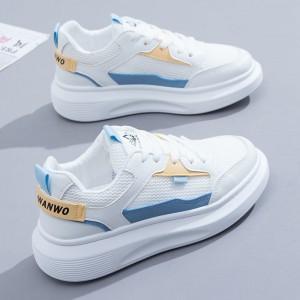 Lace Closure Contrast Flat Wear Women Fashion Sneakers - Blue