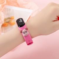Digital LED Dial Plastic Strap Women Sports Watch - Pink