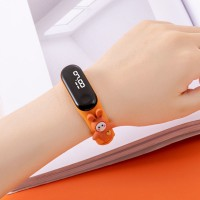 Digital LED Dial Plastic Strap Women Sports Watch - Orange