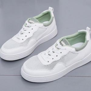Lace Closure Flat Wear Women Casual Wear Sneakers - Green
