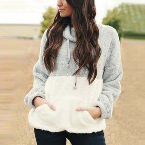 Hoodie Style Flurry Full Sleeves Loose Wear Top - Gray