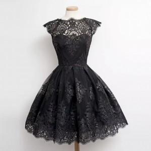 Floral Textured See Through A-Line Mini Dress - Black
