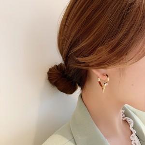 Light luxury Diamond Ring Love Earrings - Golden