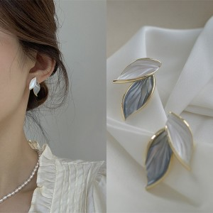Leaf Design Temperament Simple Earrings - White Gray