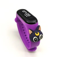 Digital LED Dial Plastic Strap Women Sports Watch - Purple