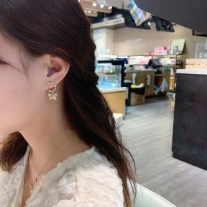 Temperament Butterfly Diamond Earrings - Golden