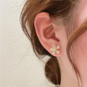 Temperament Small Flowers Earrings - Golden