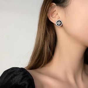 New Design Pear Flowers Earrings - Black