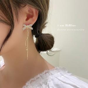 High quality Bow Long Tassel Earrings - Golden