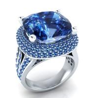 Ladies Fashion Diamond Opal Ocean Style Ring - Blue