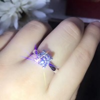 Ladies Fashion Silver Diamond Stone Ring - Silver