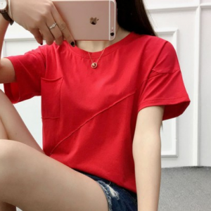 Lining Round Neck Flare Sleeves Solid Color Blouse Top - Red