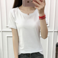 Solid Color Round Neck Short Sleeves T-Shirt - White